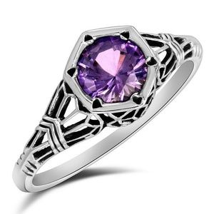 1CT Color Changing Alexandrite, 925 Silver Ring 9